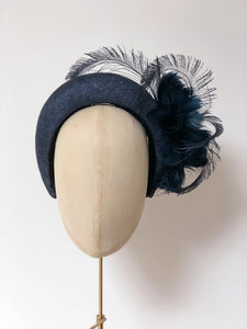 navy halo crown headband, kate middleton, cheltenham races