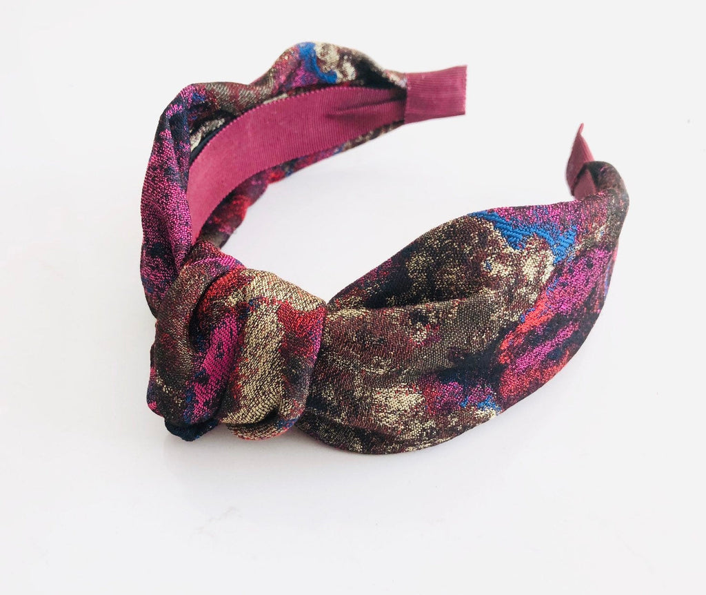 jaquard fabric knotted retro headband plum red green pink