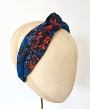 navy blue and ornage knotted turban headband jaquard fabric
