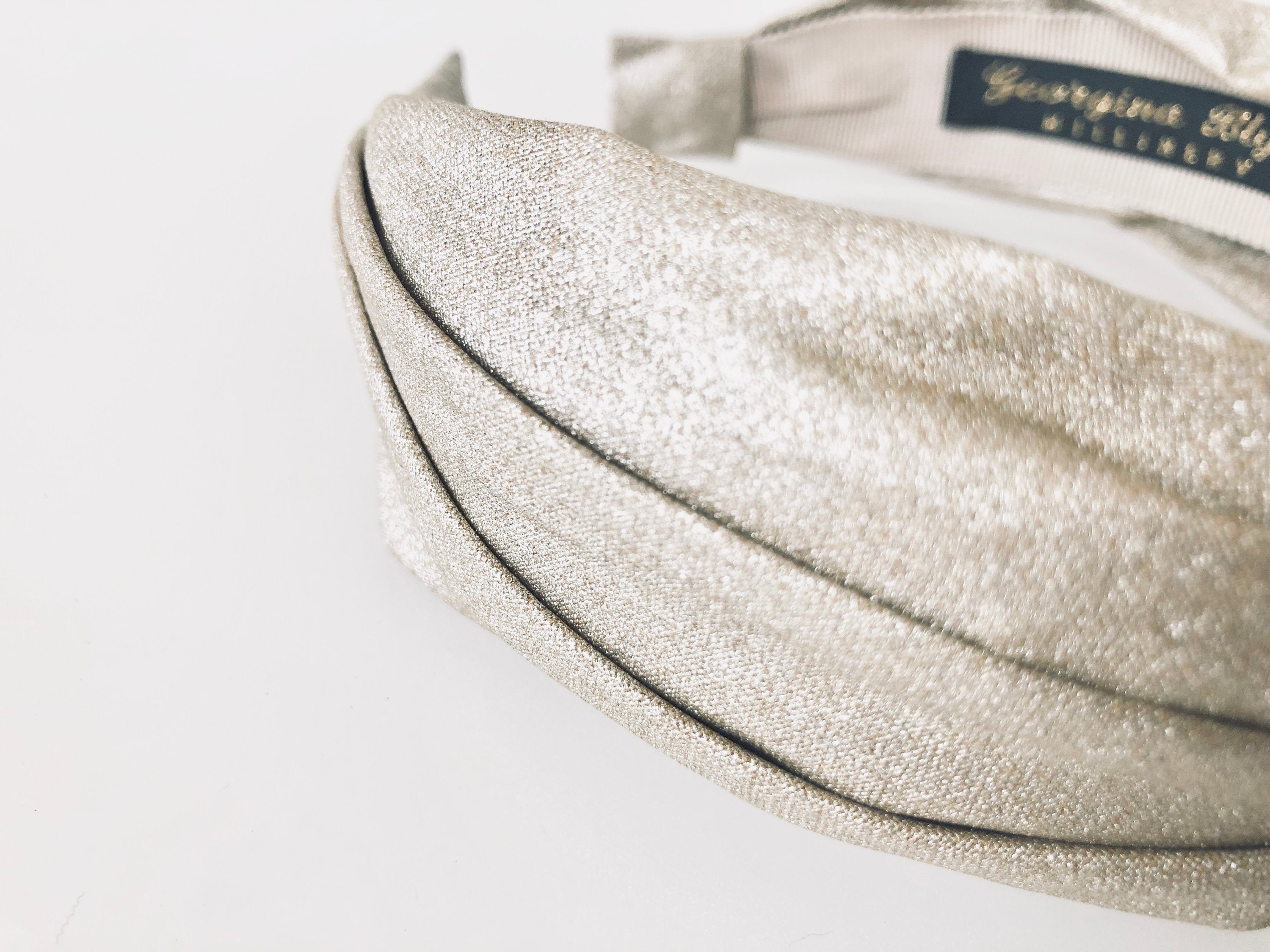 champagne shimnmer knotted headband