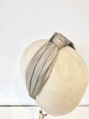 champagne shimmer fabric knotted turban headband