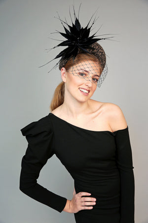 leoprad animal print padded wide  halo crown headband with feather starburst and black veiling