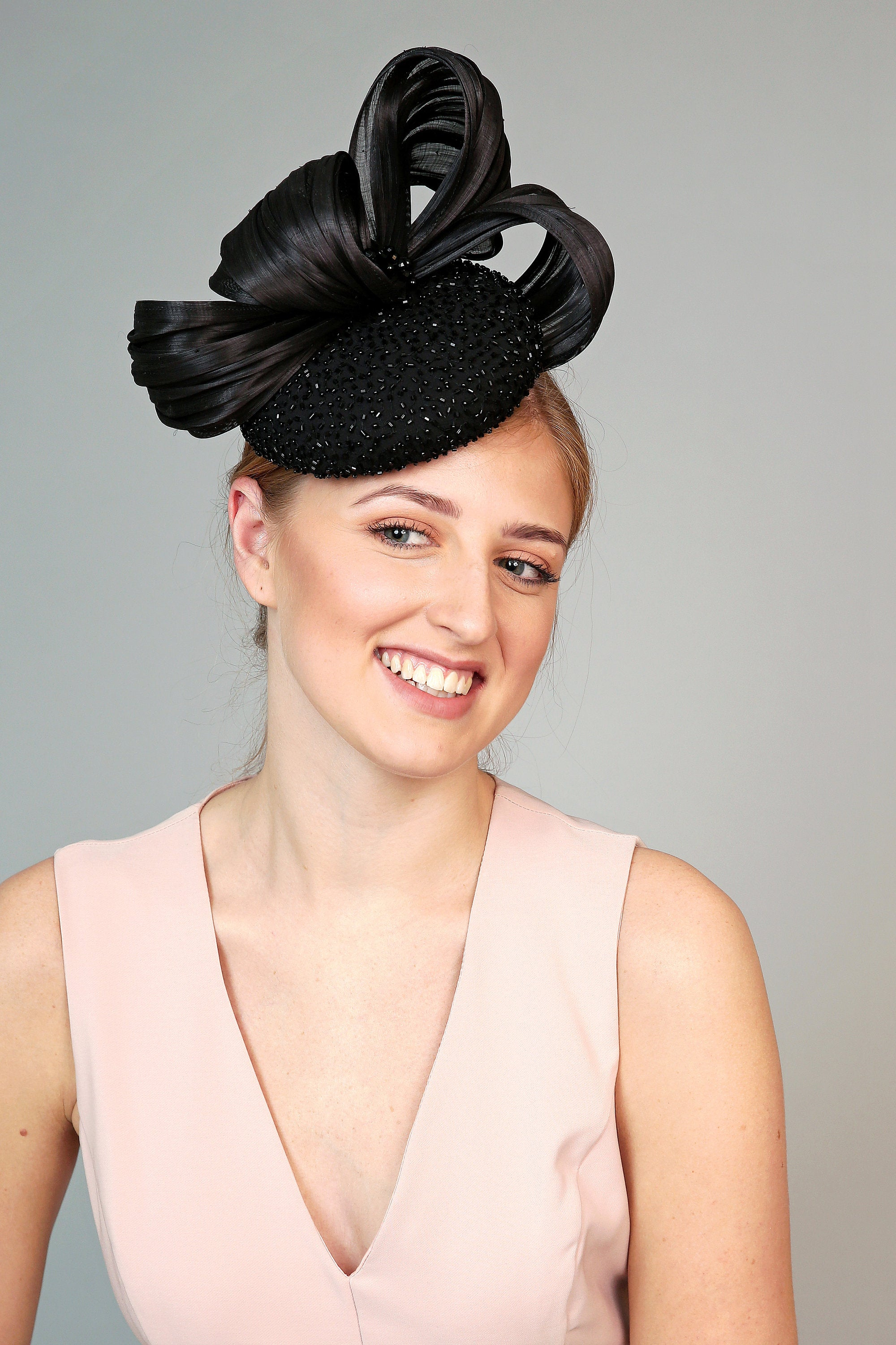 black beaded crsytal fascinator pillbox hat kate middleton style wedding hat royal ascot