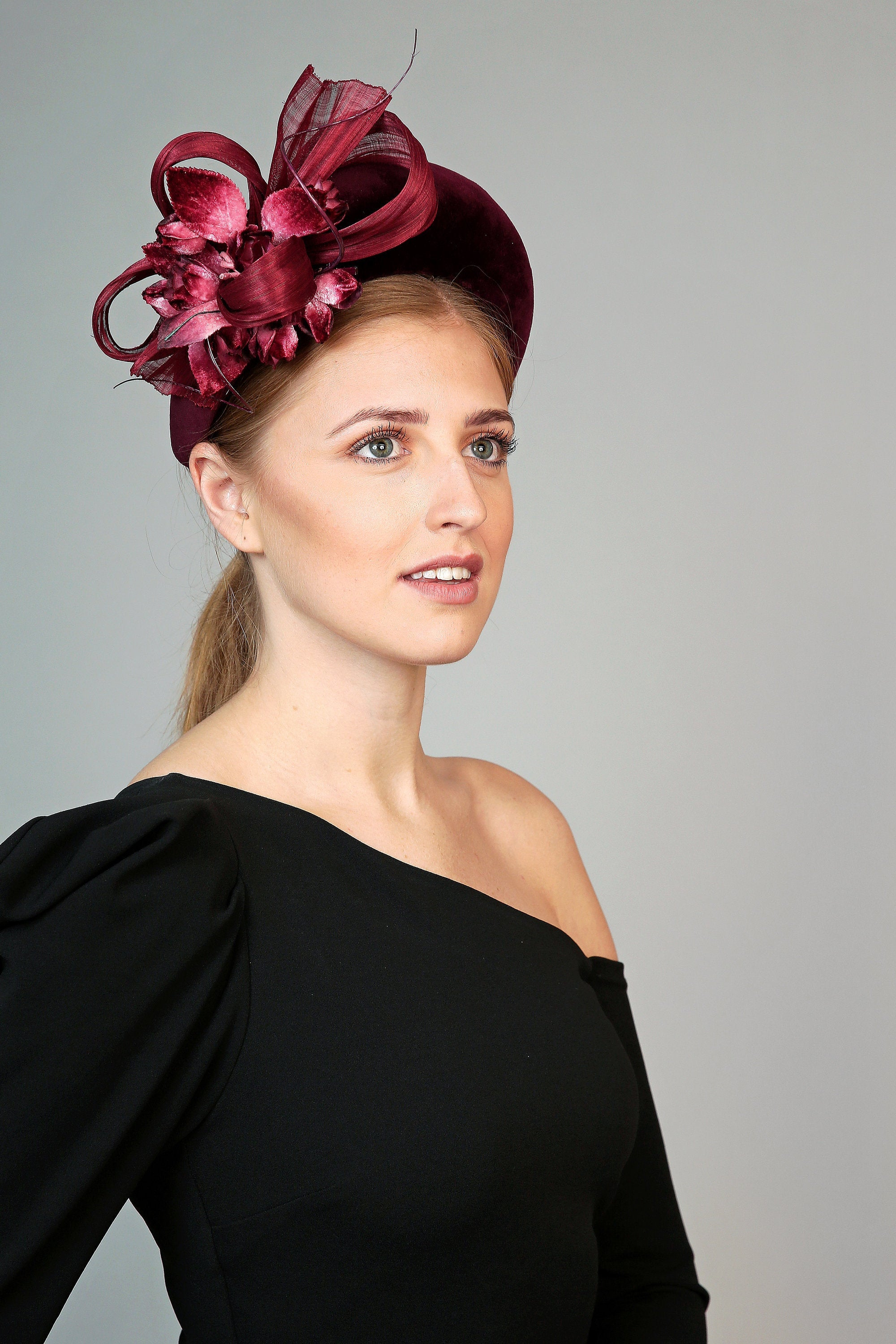 burgundy padded halo crown headband with velvet flowers and silk abaca