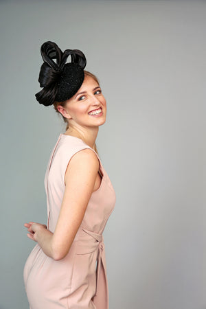 black beaded crystal fascinator hat royal ascot mother of the bride