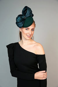 forest green felt pillbox fascinator hat, winter races, winter wedding hat