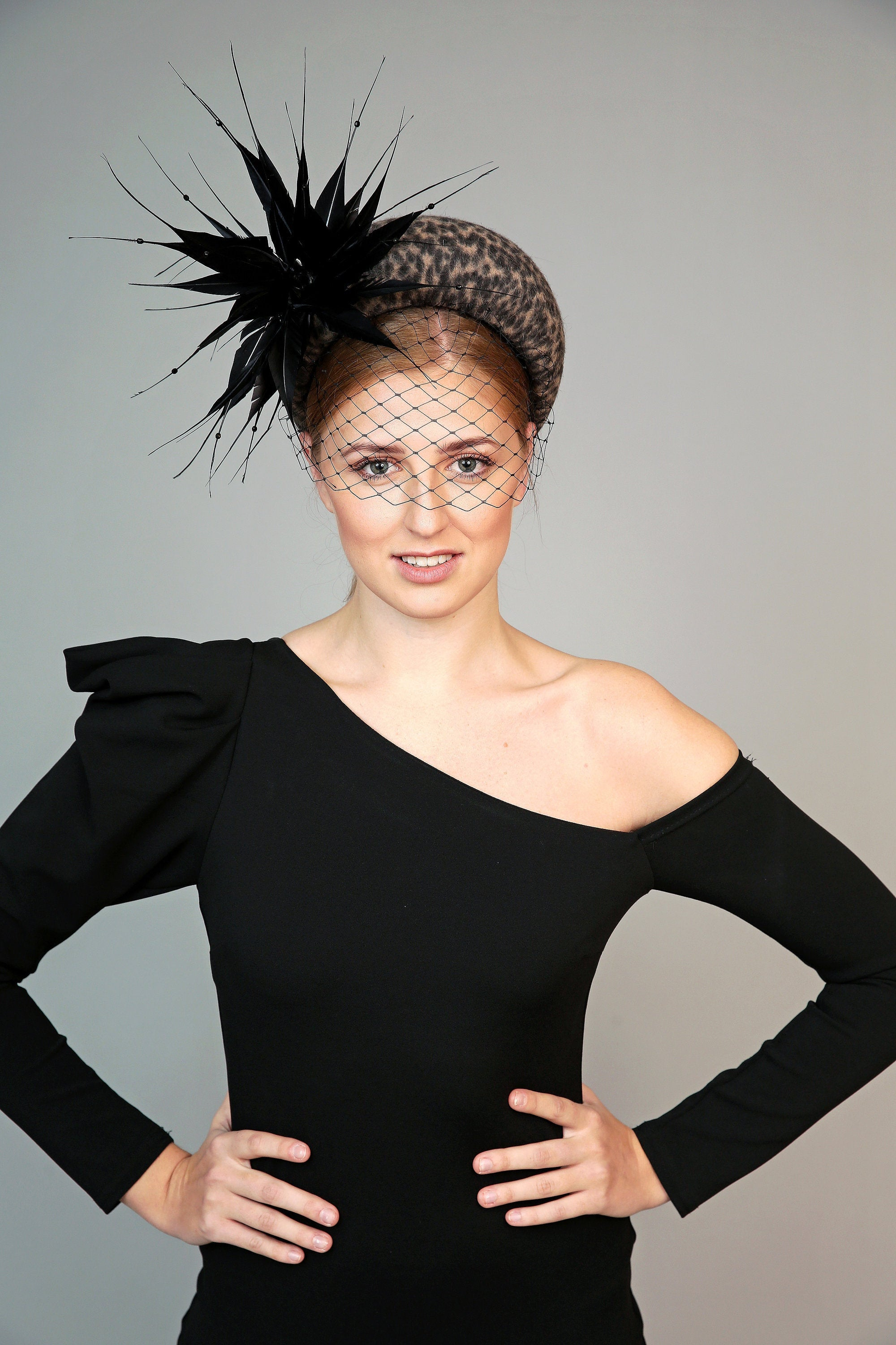 leopard animal print padded wide  halo crown headband with feather starburst and black veiling
