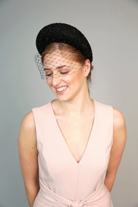 Black crystal padded headband, crescent halo crown