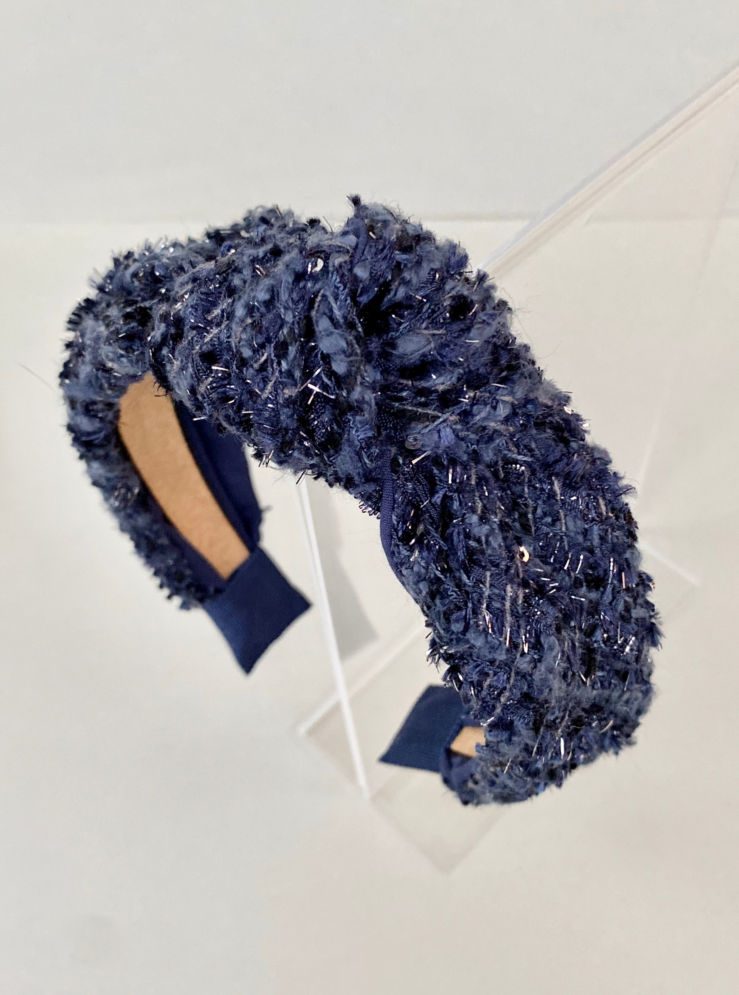 Navy Boucle Tweed Wool Knot Headband