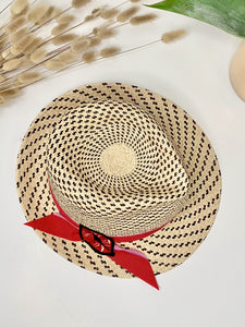 ladies Panama straw sun hat with red and pink band