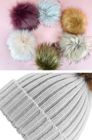 MATCHING ADULT & CHILD BEANIE - Light grey with customisable pom
