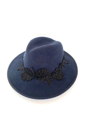 navy blue wool felt fedora hat, wide brimmed ladies winter hat with black lace badn and tiny crystals