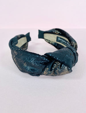Gold & Black Marble Velvet Knot Headband