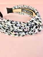 Boucle Tweed Wool Knot Headband - Liquorice Allsort