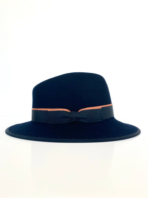 navy blue wool felt fedora hat, with copper and navy double band, ladies winter hat