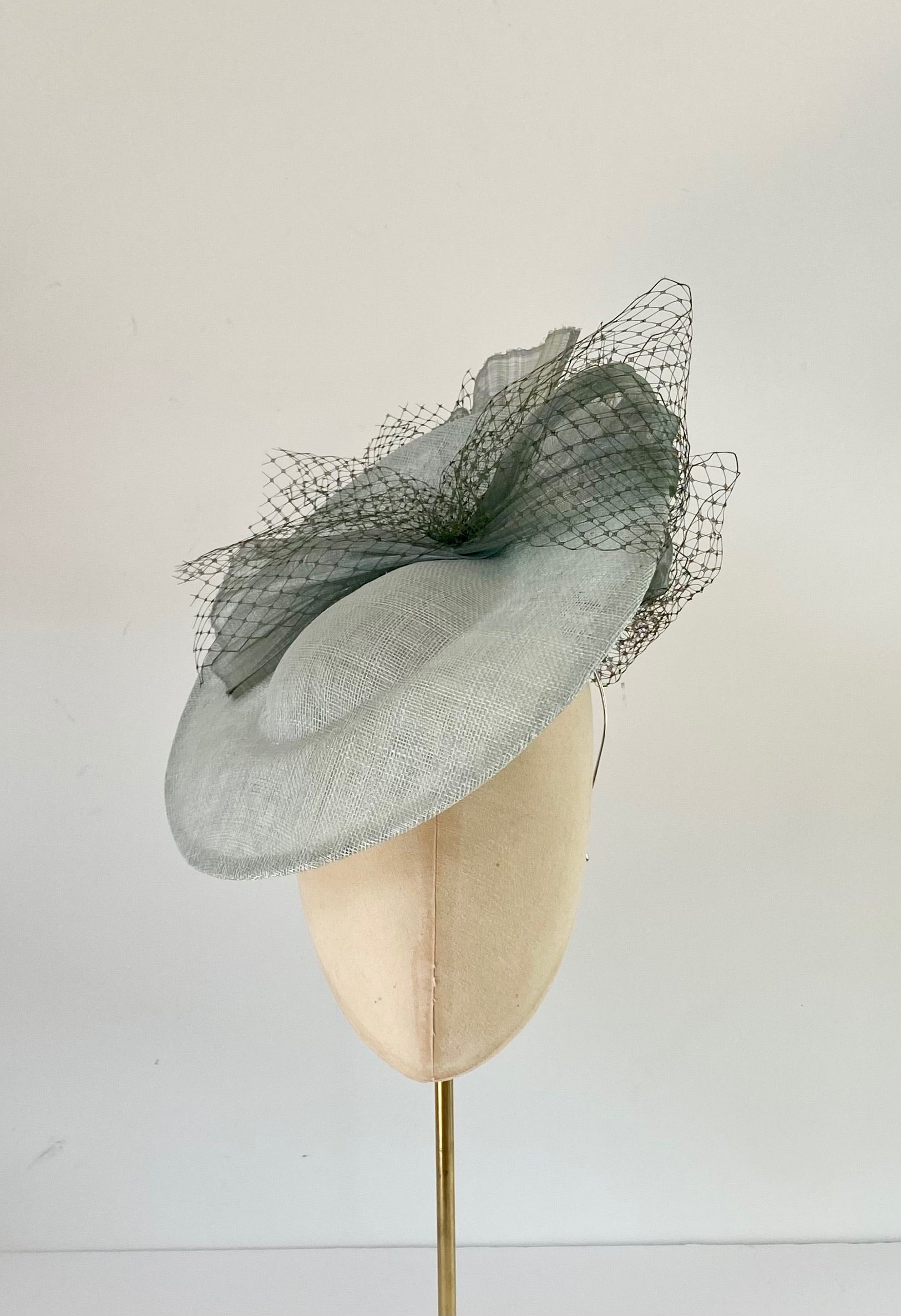 duck egg, sage green saucer disc hat for wedding.  suitable for mother of the bride