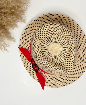 toquilla straw sun hat with embroidered lips detail