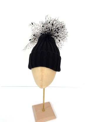 black bobble hat with veiling, beanie knitted hat