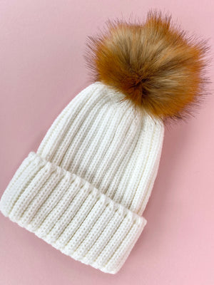 ADULT IVORY BEANIE - with customisable pom