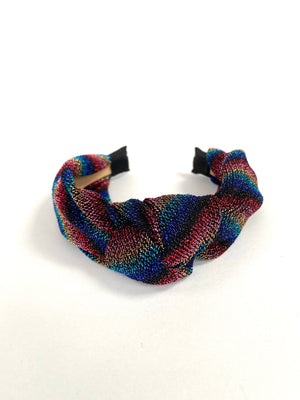 Multi coloured rainbow stripe knit headband