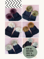 black beanie bobble woolly hat with large faux fir pom, pink, grey, plum, fox, natural, khaki