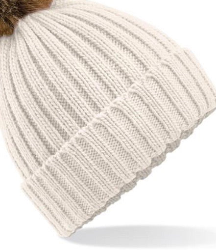 MATCHING ADULT & CHILD BEANIE - Oatmeal with customisable pom