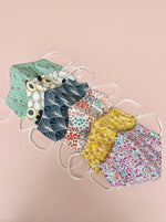 facemasks, various colours, floral, spots, hearts.  cotton, triple layer, nose wire.  structured face covering