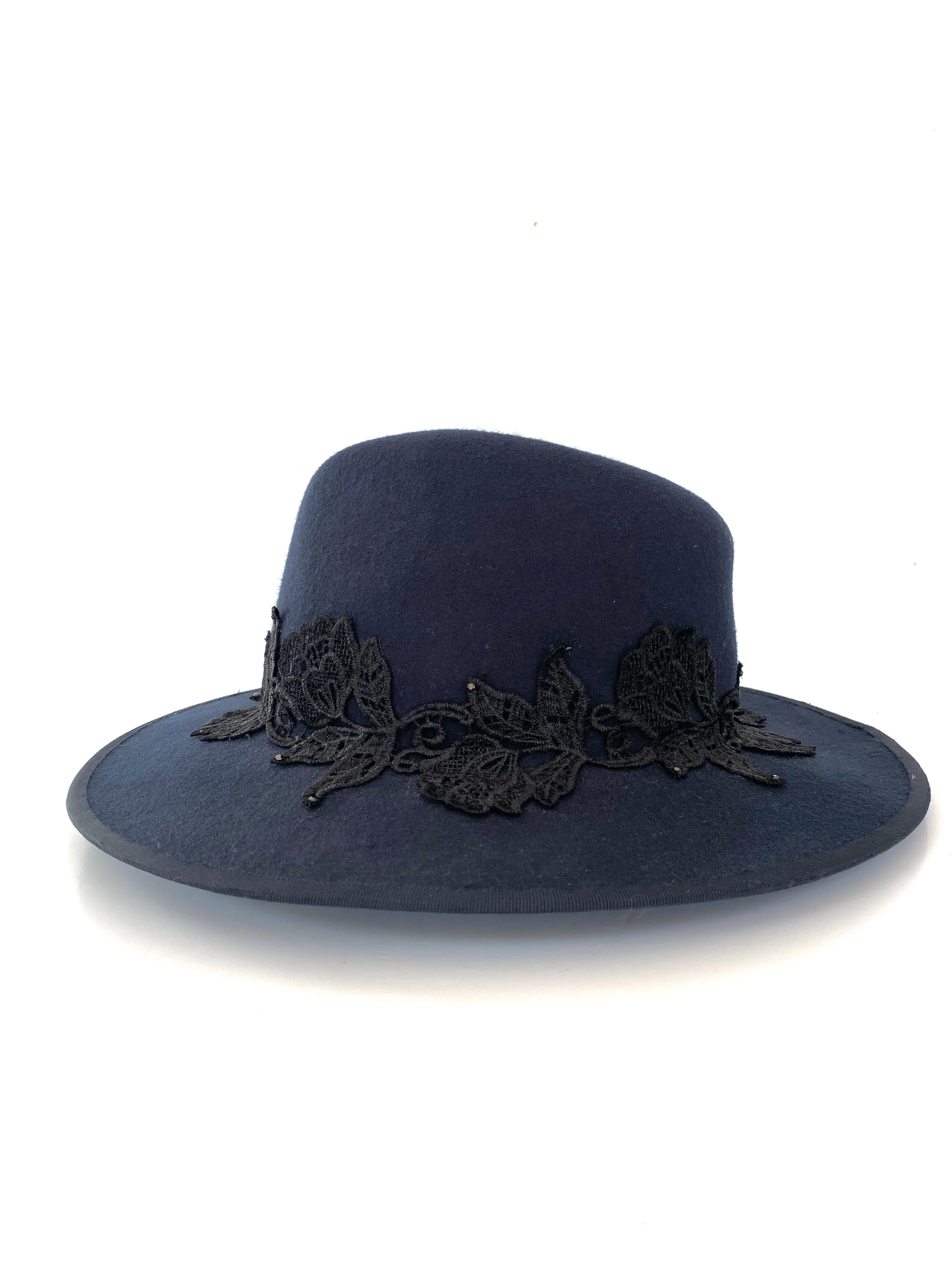 navy blue wool felt fedora hat, wide brimmed ladies winter hat with black lace band and tiny crystals