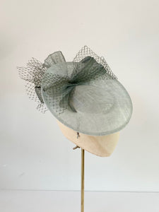 duck egg disc hat for wedding with silk abaca and veiling