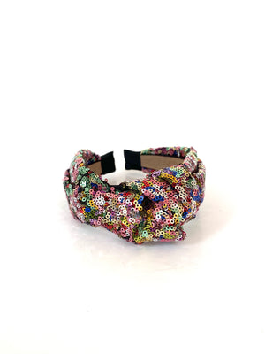 sequin large knotted turban headband - multicoloured