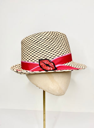 speckled toquilla straw sun hat with red and pink band