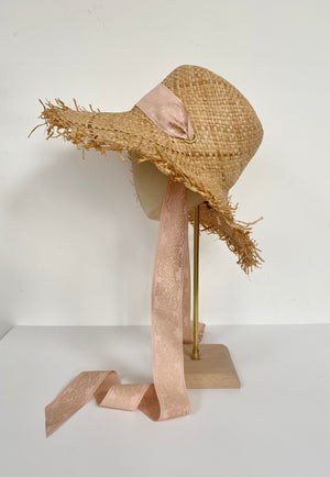 natural raffia straw sun hat - wide floppy brim with ribbon neck tie