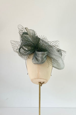 duck egg sage green wedding hat for mother of the bride with veiling and silk abaca