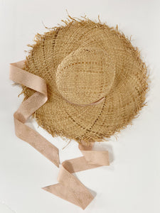 wide brim floppy starw sun hat with ribbon neck tie