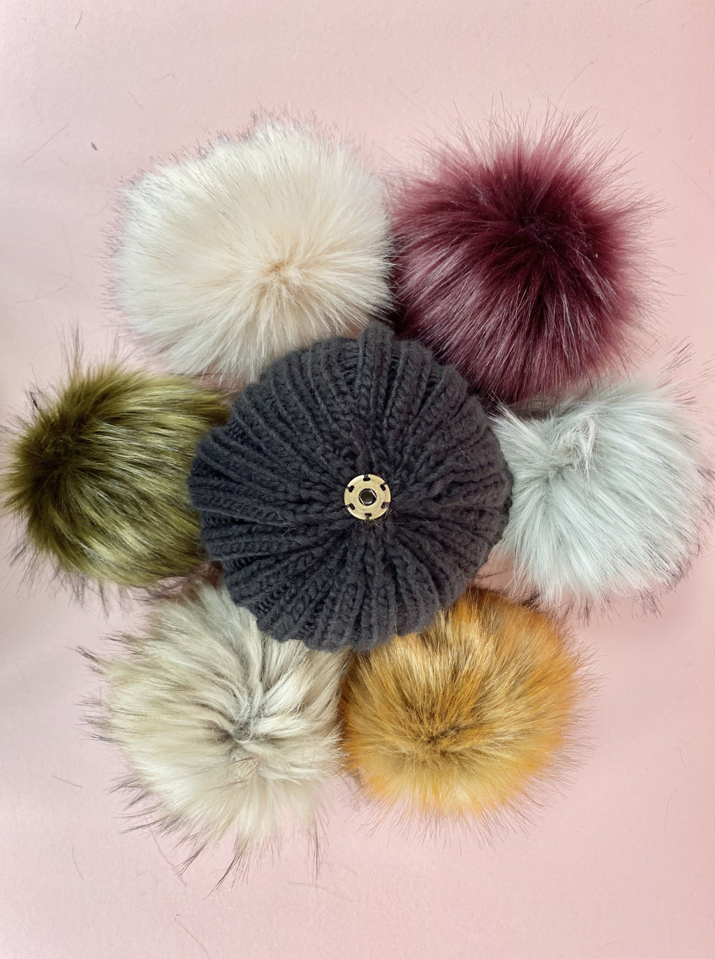 black beanie bobble hat with large faux fur pom, plum, fox, natural, khaki, blush