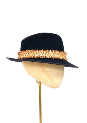 navy blue wool felt trilby ladies winter hat with orange and olive green tweed band
