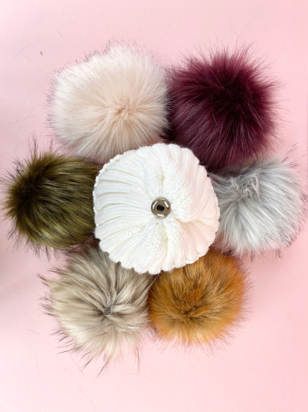 ivory bobble beanie woolly hat with large faux fur pom pink, khaki, fox, natural, grey, plum