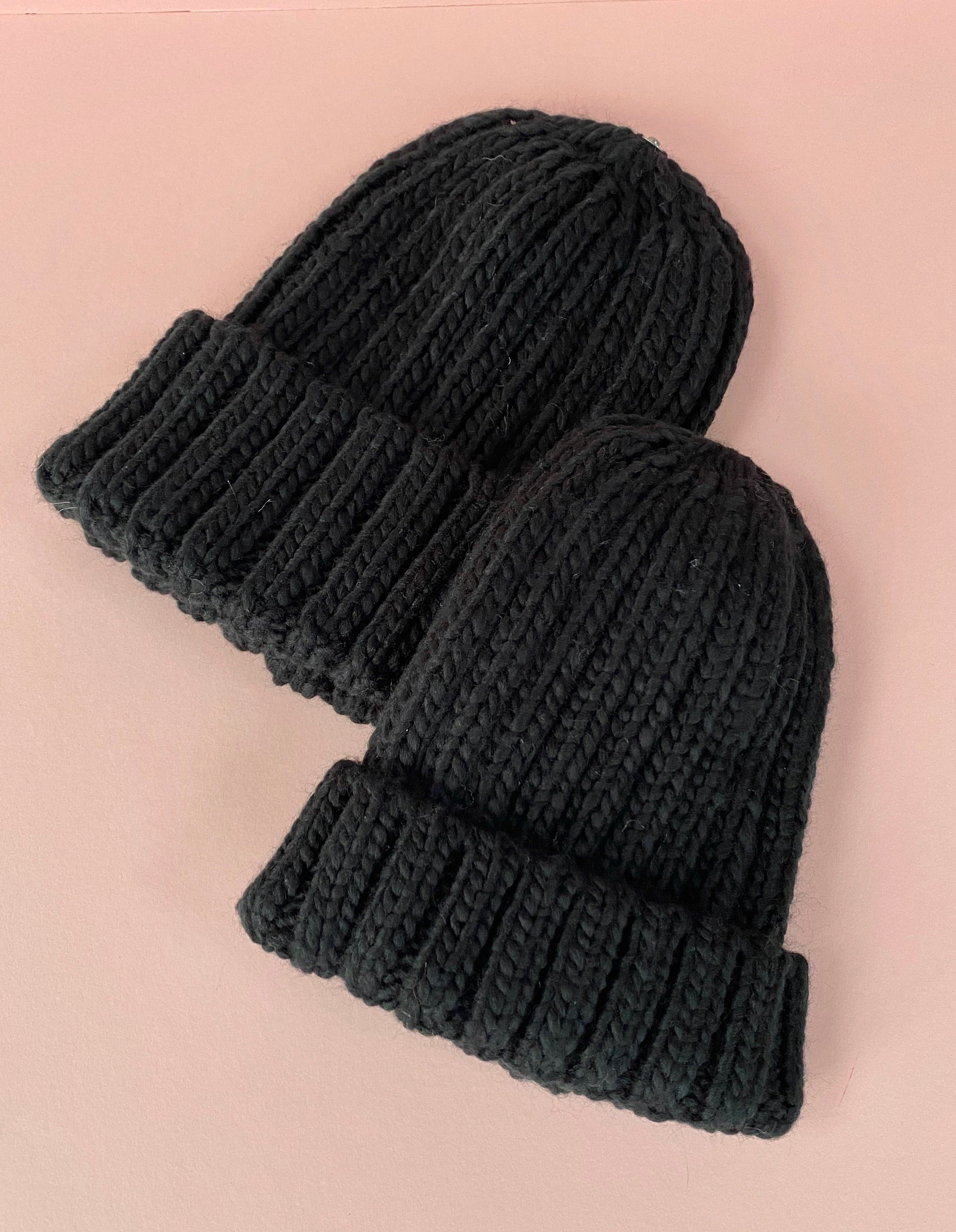 MATCHING ADULT & CHILD BEANIE - Black with customisable pom