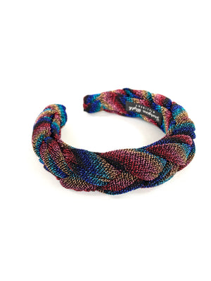 Multi coloured rainbow stripe plaited headband