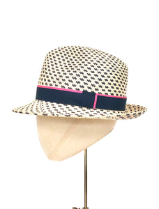 spotted panama trilby sunhat with navy and pink band