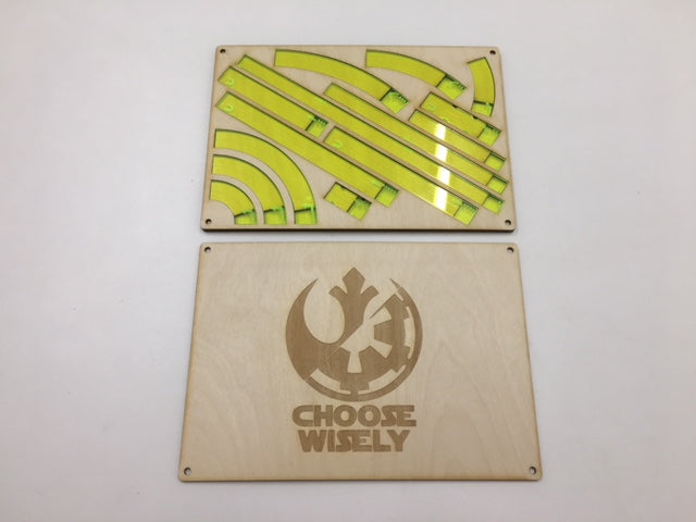 X-wing 2.0 template tray with magnetic lid and customisable engraving - compact version