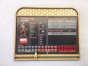 Character dashboard for Marvel & DC miniatures game