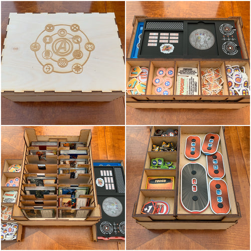 Game night engraved wooden box compatible with games like marvel champions etc customisable engraving.