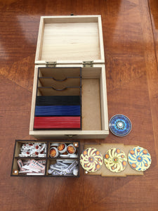 wooden box card deck and token storage with customisable engraving.