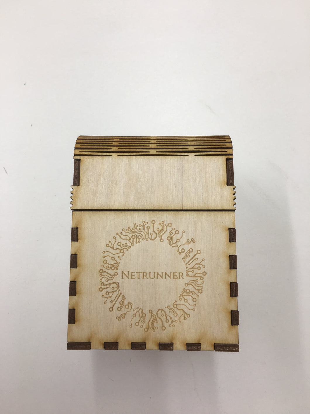 Wooden double card deck box with customised engraving
