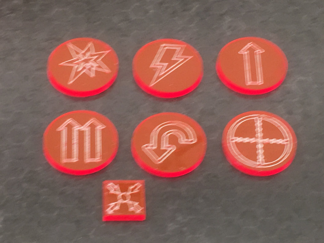 Kill team compatible tokens in a choice of acrylics