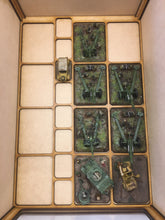 Miniature storage tray insert with flames of war large base sized cut outs