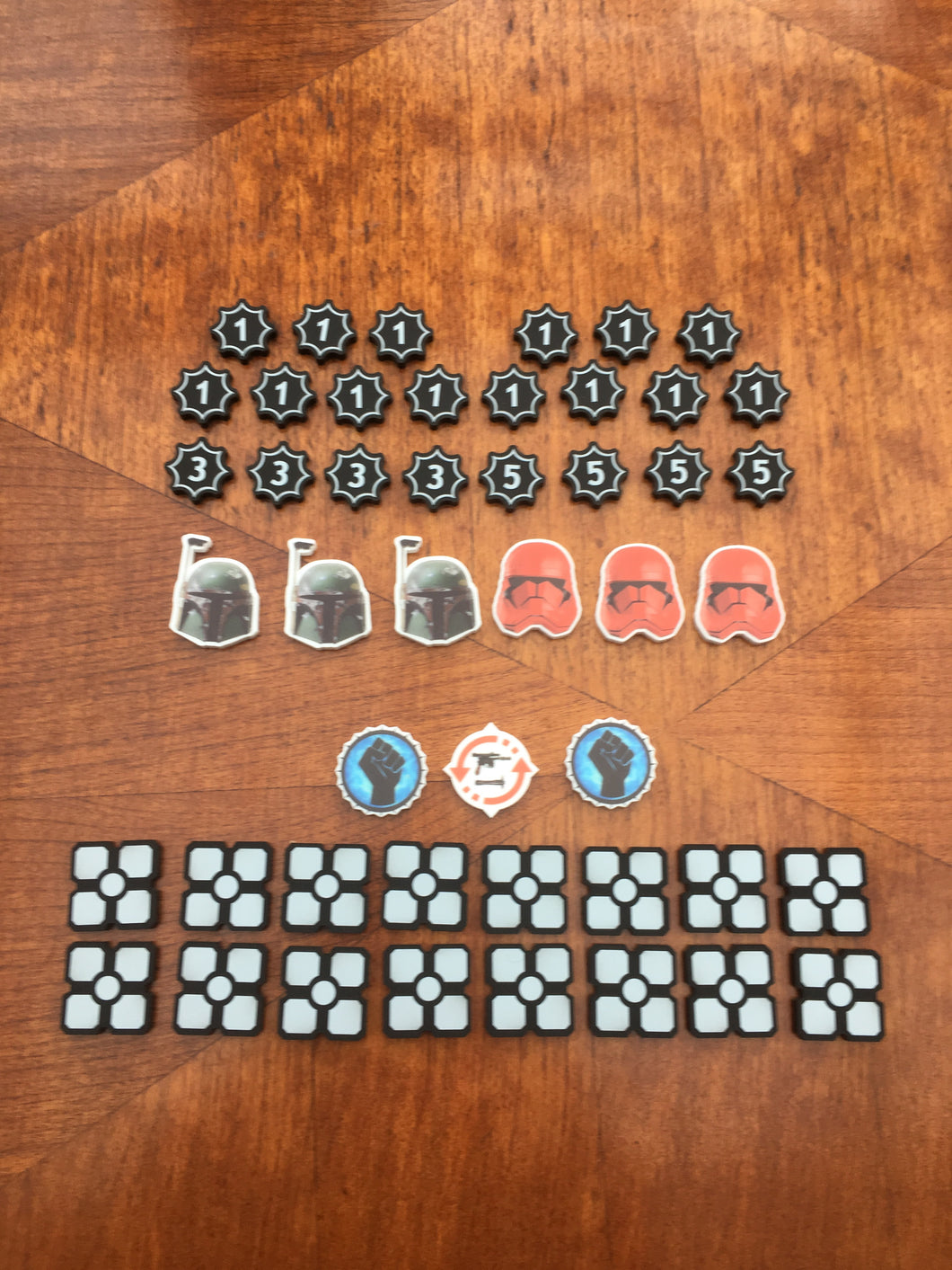 Star Wars Destiny compatible token set. Full colour, choose your own shield tokens.