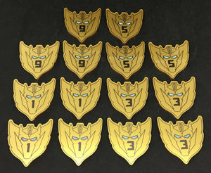 Rodimus star style large damage tokens. Colour printed, scratch resistant. Double sided.