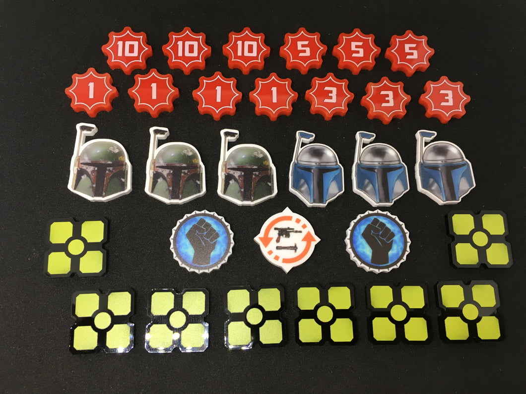 Star Wars Destiny compatible token set. Full colour, double sided wound, choose your own shield tokens.